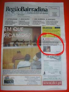 TEX no semanário Região Bairradina - Capa