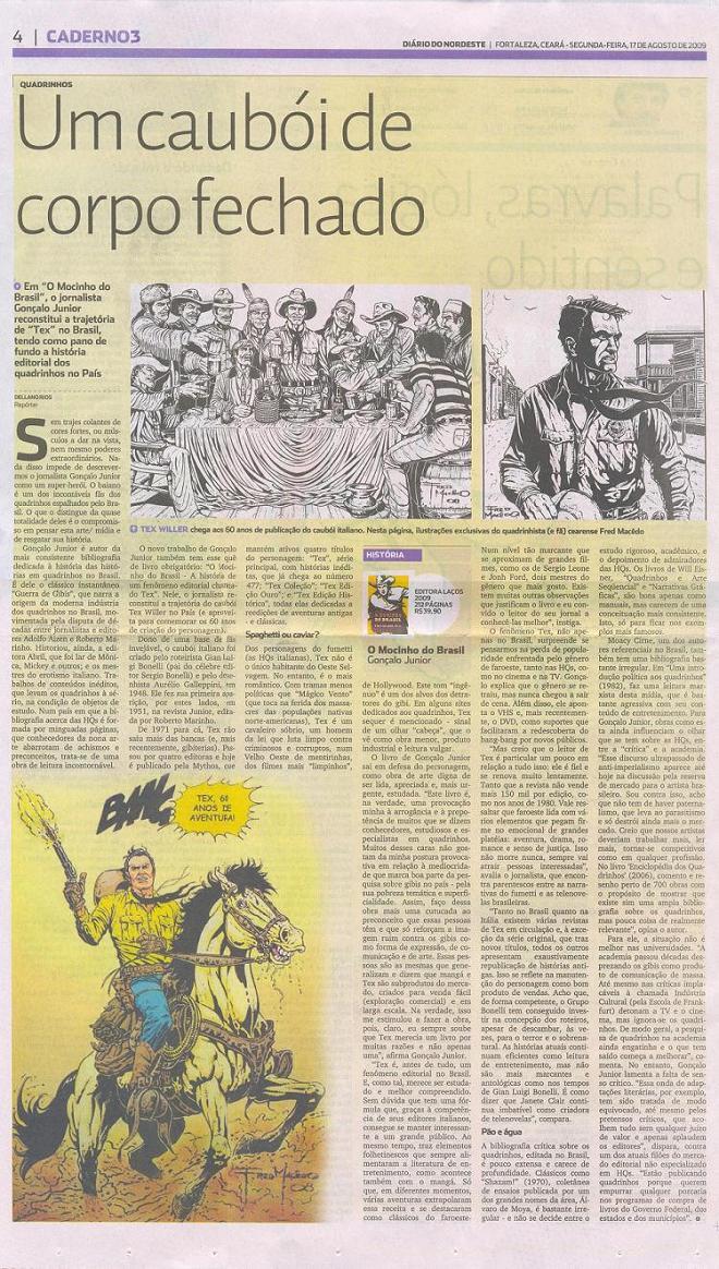 Tex no Jornal Diário Do Nordeste de 17-08-09