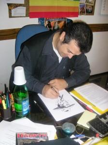 Claudio Villa desenhando