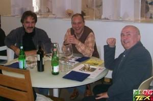 Manlio Truscia e Giancarlo Malagutti com Júlio Schneider e os desenhos de Tex e Adam