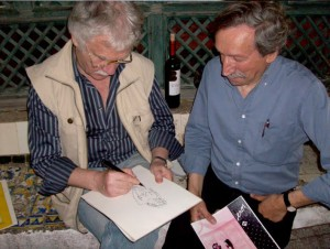 Hermann desenhando para Geraldes Lino