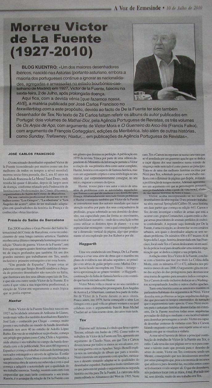 Morte de Victor De La Fuente noticiada no jornal A Voz de Ermesinde