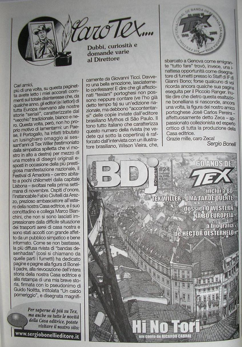Editorial de Tex Nuova Ristampa #223 dedicado a Portugal