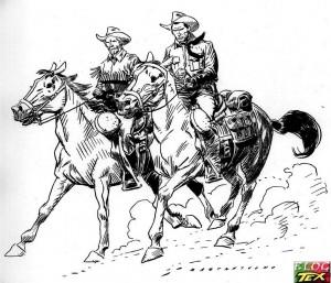 Kit Carson e Tex cavalgando