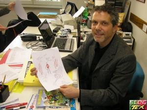 Moreno Burattini e o esboço de uma capa de Zagor para enviar a Ferri