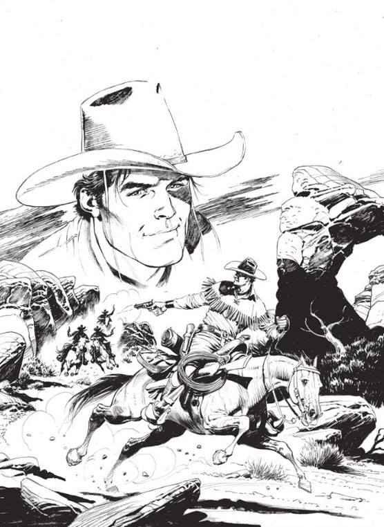 A arte de Claudio Villa, a preto & branco, da capa variante de Tex Willer nº 1