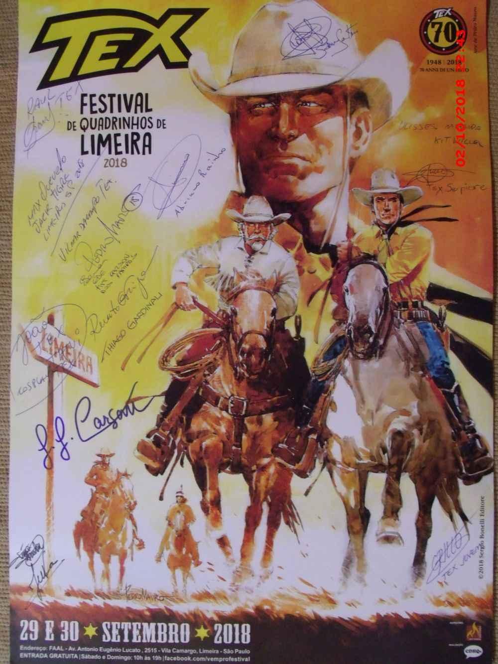 Cartaz oficial do evento autografado pelo autor do belo desenho - Pedro Mauro, pelos cosplayers presentes ao evento, pelos organizadores (evento, exposição e palestras) e pelos autores texianos que lançaram livros no evento
