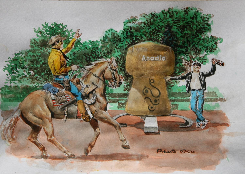 A chegada de Tex a Anadia na-arte de Roberto Diso