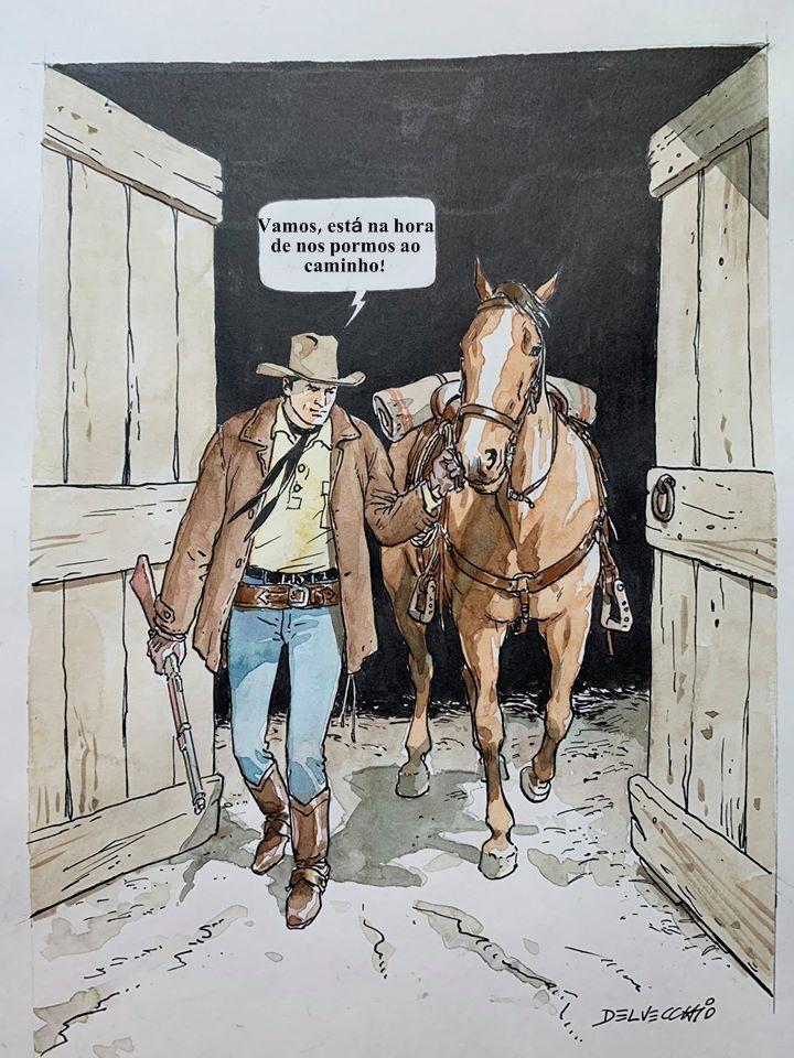 Com o fim do confinamento... Tex e Dinamite põem-se ao caminho! Arte de Pasquale Del Vecchio